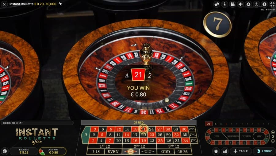 Live Instant Roulette win